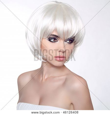 Fashion Portrait With White Short Hair. Haircut. Hairstyle. Fringe. Professional Makeup. Make-up. Vo