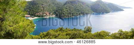Panorama Of Yachts At The Pier And Beach On Mediterranean Turkish Resort, Fethiye, Turkey