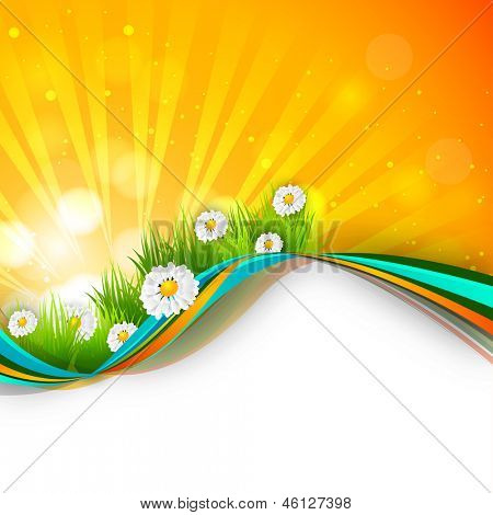 Shiny summer background with flowers.