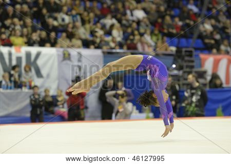 KIEV, UKRAINE - MARCH 31: Tamires Rodriges da Veiga, Brazil performs floor exercise during International Tournament in Artistic Gymnastics Stella Zakharova Cup in Kiev, Ukraine on March 31, 2013
