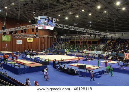 KIEV, UKRAINE - MARCH 30: Kiev Sport Palace during International Tournament in Artistic Gymnastics Stella Zakharova Cup in Kiev, Ukraine on March 30, 2013