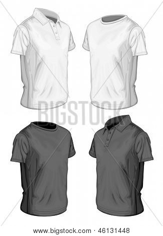Men's short sleeve polo-shirt and t-shirt design templates (half-turned views). Vector illustration. No mesh, spot colors only