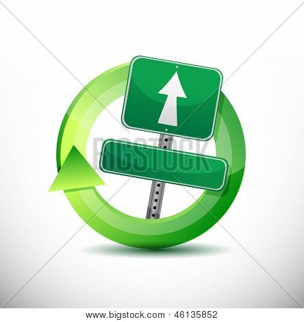 On The Move Sign Cycle Concept Illustration Design