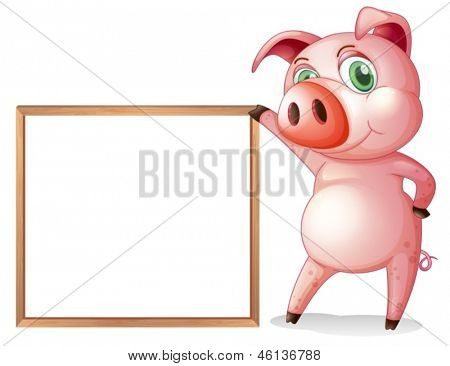 Illustration of a female pig beside an empty wooden frame on a white background
