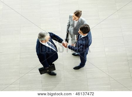 Image of business partners handshaking after striking deal with smart woman near by