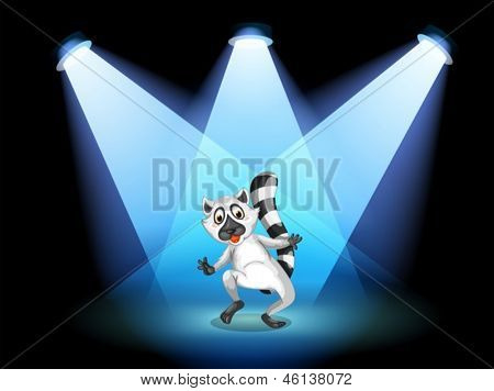 Illustration of a stage with a dancing lemur
