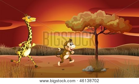 Illustration of a giraffe and monkey running in a sunset scenery