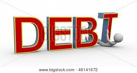 3D Man Under Debt