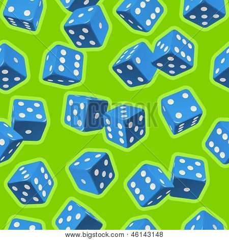 Vector dice seamless background. Blue on green