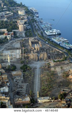 Luxor Temple And The River Nile - Elevated Aerial View