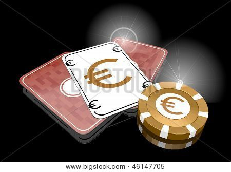 3d render of a noble Euro sign  on poker cards