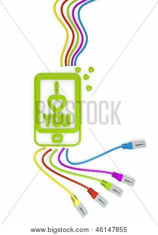 I love you symbol with colourful network cable