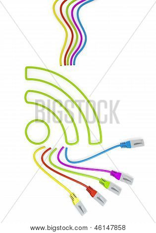 wifi symbol with colourful network cable