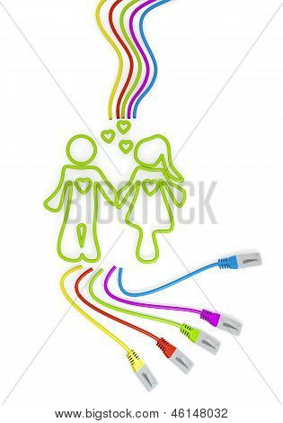 partnership symbol with colourful network cable