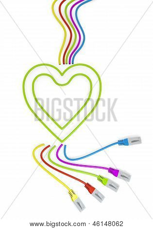 heart icon with colourful network cable