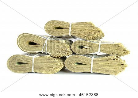 Dollar Banknote Stack Money Isolated On White Background