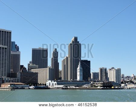 Port Of San Francisco Ferry Building And Cityscape Of Downtown San Francisco On A Clear Day