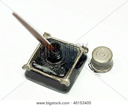 Retro ink bottle and Nib pen