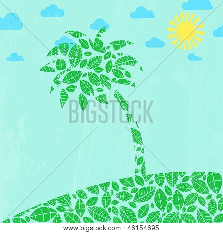 Abstract Summer Background With Palm Tree.