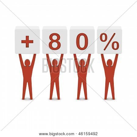 Men holding plus 80 percent. Concept 3D illustration.
