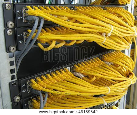 Ethernet Rj45 Cables Are Connected To Internet Switch