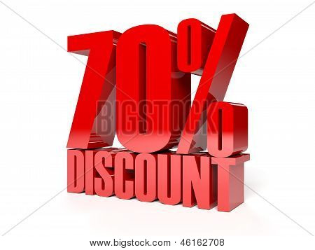 70 percent discount. Red shiny text. Concept 3D illustration.