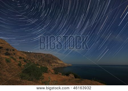 Night Landscape, Night Sky With Moving Stars