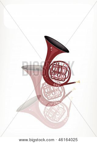 A Musical French Horn With A White Banner
