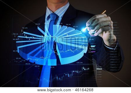 Closeup image of businessman drawing 3d graphics