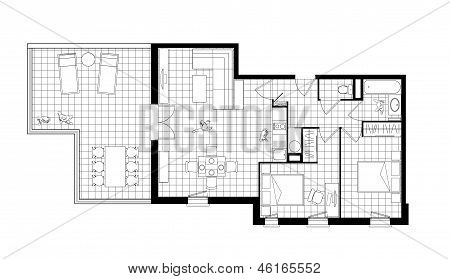 Three-room Apartment Black And White Drawing