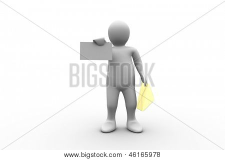 White figure holding a brown envelope and letter on white background