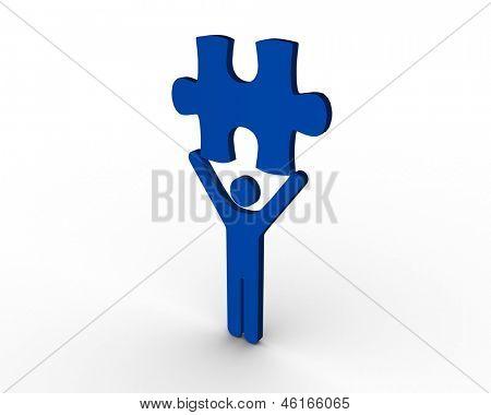 Blue human figure brandishing jigsaw piece on white background