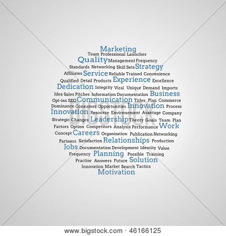 Group of blue marketing terms on grey background