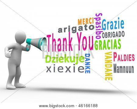 White human figure revealing thank you in different languages with a megaphone