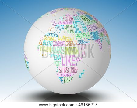 Internet terms on white earth on blue background