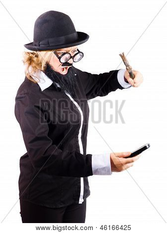 Woman Hitting Her Phone With Hammer