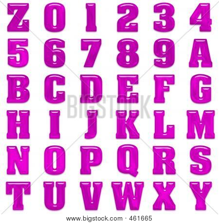 Hot Pink Bubble Alphabet