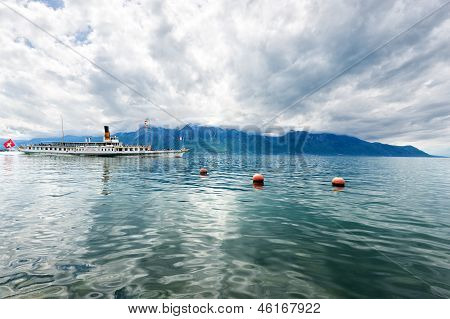 Panorama Of Geneva Lake With Steamboat, Montreux