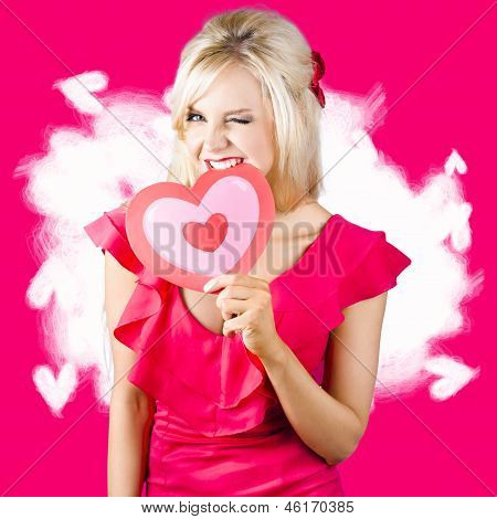 Cute Love Hungry Girl Eating Big Red Heart