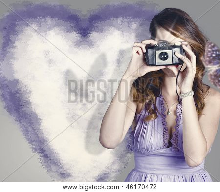 Woman With Camera. Love In A Still Frame Capture