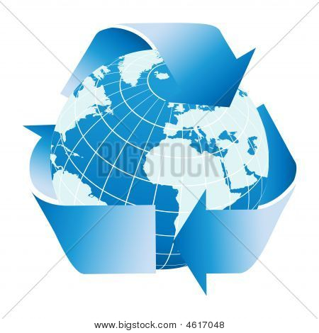 Globe Of The Earth With Recycle Symbol