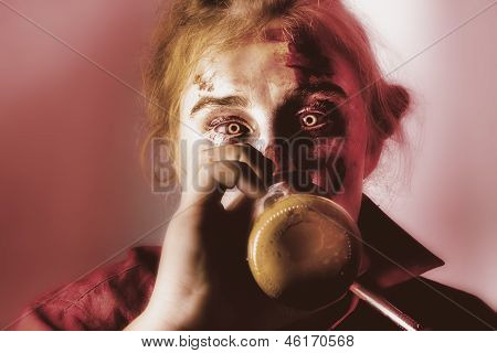 Drunk Ghoul Sculling Beer At Halloween Party