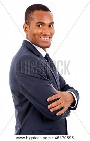 Portrait of a happy smiling African American business man against white background