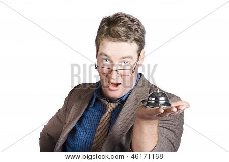 Shocked Businessman With Service Bell. Bad Service
