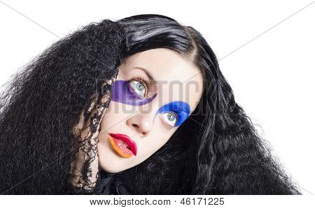 Woman In Colorful Fashion Make Up