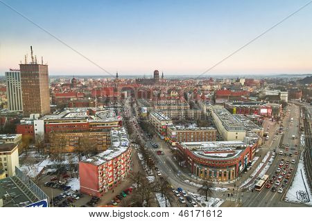 GDANSK, POLAND - 14 FEB 2011: Panorama of Gdansk city centre on 14 February 2011. Gdansk is a Polish city on the Baltic coast, one of the main seaport and center of Tri City metropolitan area.