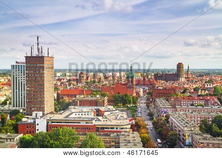 GDANSK, POLAND - 1 OCT 2010: Panorama of Gdansk city centre on 1 October 2010. Gdansk is a Polish city on the Baltic coast, one of the main seaport and center of Tri City metropolitan area.