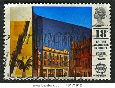 UK - CIRCA 1987: A stamp printed in UK shows image of the Willis Faber and Dumas Building, Ipswich, circa 1987.