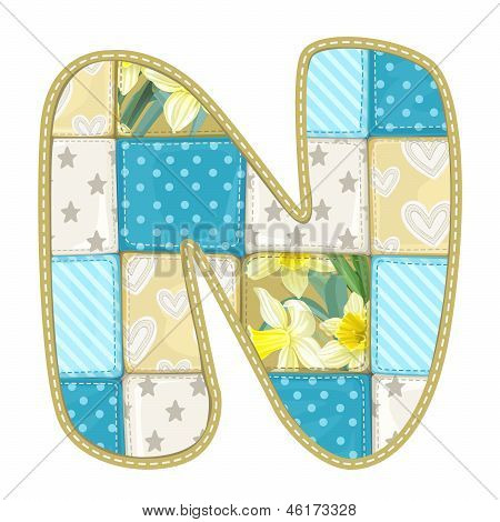 Roundish Font From Quilted From Multi-colored A Blanket Rag - Letter N