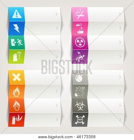 Arco iris - iconos de advertencia y peligro / plantilla de navegación